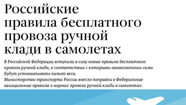 Правила бесплатного провоза ручной клади в российских компаниях - Sputnik Абхазия