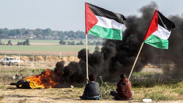 Палестинские демонстранты размахивают национальным флагом у границы между Израилем и Сектором Газа - Sputnik Аҧсны