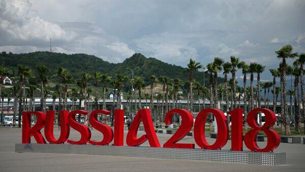Инсталляции Russia 2018 у железнодорожного вокзала Имеретинский курорт в Олимпийским парке в Сочи. - Sputnik Аҧсны