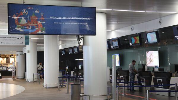 Стойки регистрации в новом терминале аэропорта Стригино в Нижнем Новгороде, архивное фото - Sputnik Аҧсны