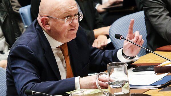 Постоянный представитель Российской Федерации при Организации Объединённых Наций Василий Небензя выступает на открытом заседании совета безопасности ООН в Нью-Йорке. - Sputnik Аҧсны