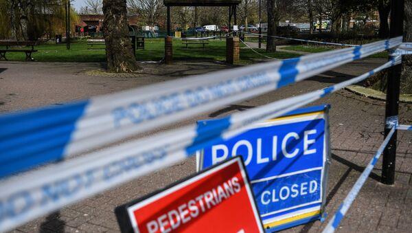 Ограждения, выставленные полицией города Солсбери, у входа в парк, где на скамейке были обнаружены  бывший полковник ГРУ Сергей Скрипаль и его дочь Юлия - Sputnik Аҧсны