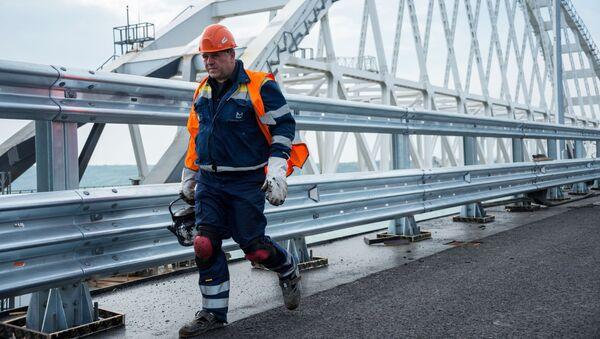 Рабочий на строительстве автомобильных подходов к мосту через Керченский пролив со стороны Тамани - Sputnik Абхазия