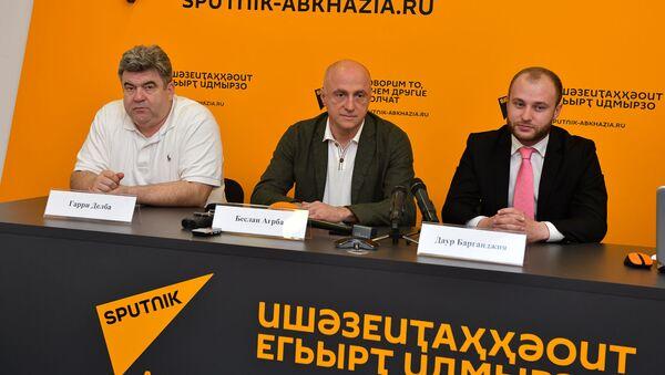 Пресс-конференция, посвященная открытию экономического форума в Сухуме состоялась в Sputnik 31 мая. - Sputnik Абхазия