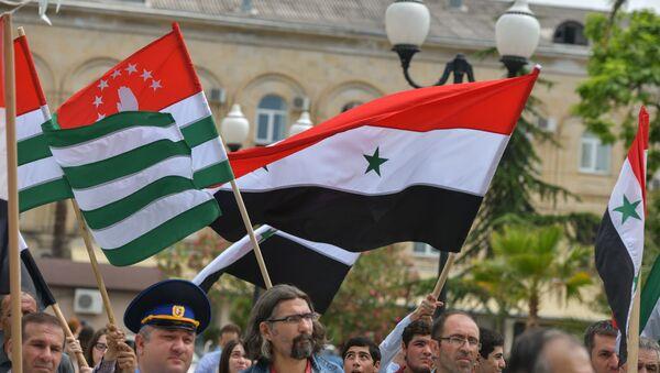 Митинг, посвященный признанию Абхазии Сирийской Арабской Республикой - Sputnik Абхазия