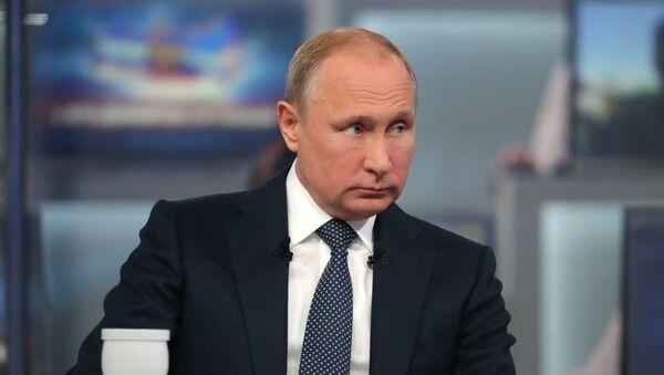 Прямая линия с президентом России Владимиром Путиным (7 июня 2018). Москва - Sputnik Аҧсны