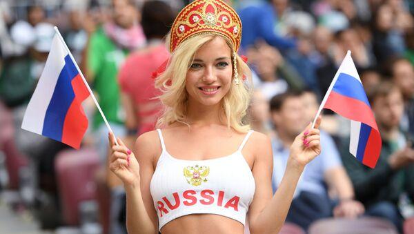 Болельщица сборной России перед матчем группового этапа чемпионата мира по футболу между сборными России и Саудовской Аравии - Sputnik Абхазия