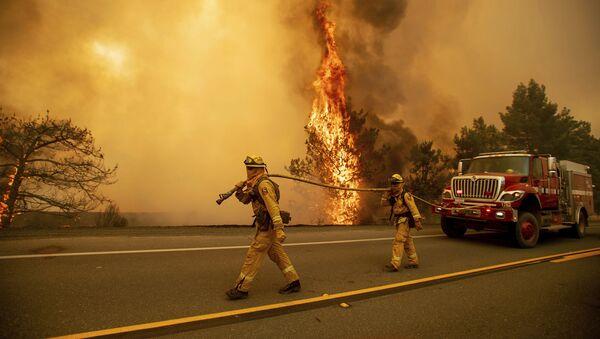 Пожарные во вреся тушения природных пожаров в Клирлейк Окс, Калифорния - Sputnik Аҧсны
