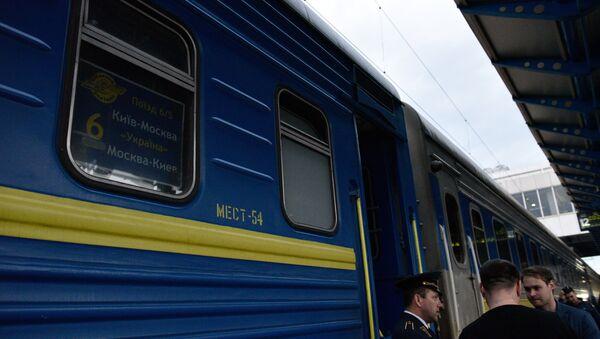 Табличка с номером вагона в окне поезда Киев-Москва на перроне Центрального железнодорожного вокзала в Киеве. - Sputnik Абхазия