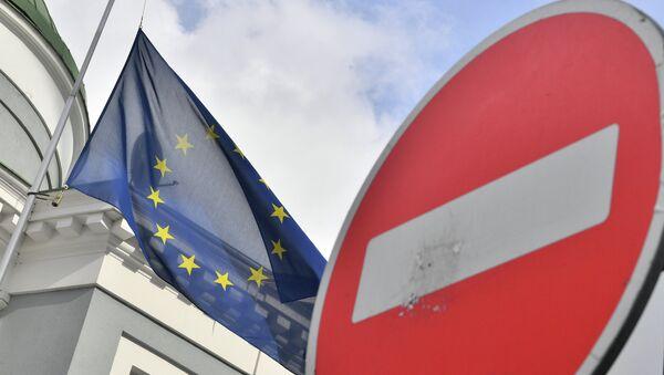 Флаг ЕС у здания представительства Европейского Союза в Москве - Sputnik Аҧсны