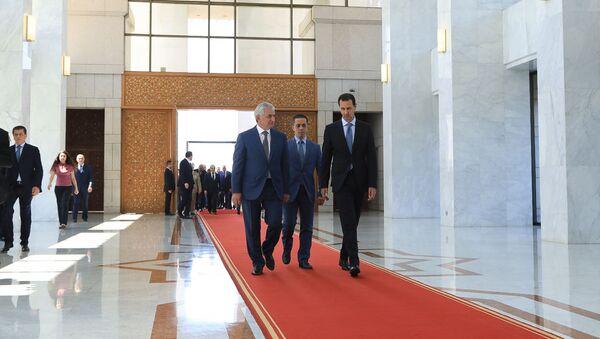 Официальная церемония встречи Президента Республики Абхазия Рауля Хаджимба в Сирийской Арабской Республике - Sputnik Аҧсны
