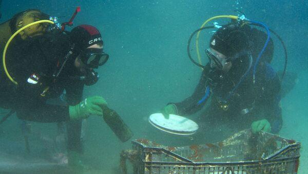 Дайверы поднимают тарелки и бутылки, найденные на дне Саронического залива вблизи Афин - Sputnik Абхазия