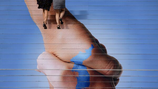 Постер в Сеуле, изображающий Корейский полуостров в виде рукопожатия - Sputnik Абхазия
