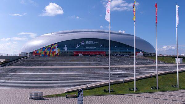 Ледовый дворец Большой во время подготовки XIX Всемирного фестиваля молодежи и студентов в Сочи - Sputnik Аҧсны