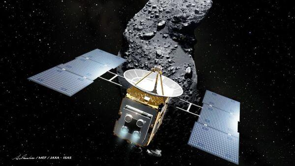Иллюстрация с изображением астеройда и космического зонда Хаябуса - Sputnik Аҧсны