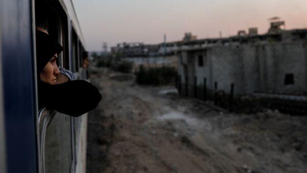 Женщина в окне поезда по пути на вновь открывшуюся Международную ярмарку в Дамаске - Sputnik Абхазия
