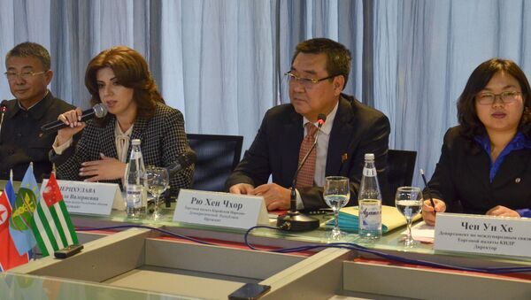 Пресс-конференция ТПП Абхазии и делегации из КНДР состоялась во вторник 27 ноября в Сухуме - Sputnik Абхазия