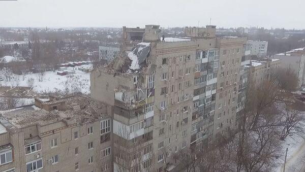 Беспилотник заснял последствия взрыва газа в жилом доме города Шахты - Sputnik Абхазия