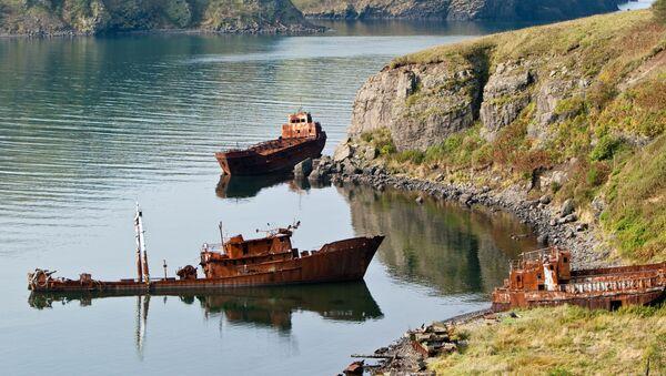 Останки военных кораблей на берегу бухты Крабовой, Курильские острова, остров Шикотан - Sputnik Абхазия