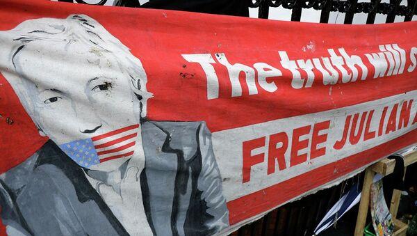 Баннер с изображением Джулиана Ассанжа - Sputnik Абхазия