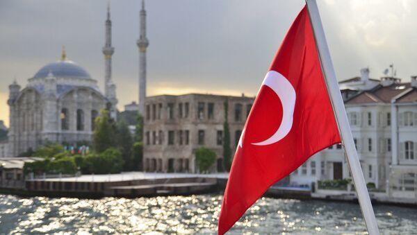 Турецкий флаг на фоне стамбульского пейзажа - Sputnik Абхазия