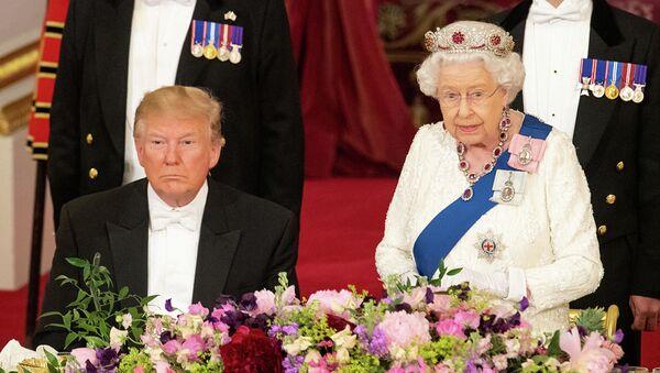 Королева Елизавета вол время встречи с президентом США Дональдом Трампом в Букингемском дворце - Sputnik Абхазия