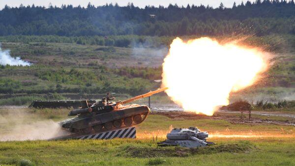 Танк Т-90А во время динамического показа современных и перспективных образцов вооружений, военной и специальной техникина  V Международном военно-техническом форуме Армия-2019 - Sputnik Аҧсны