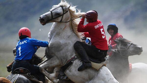 Игроки во время матча на чемпионате Республики Алтай по кок-бору в Онгудайском районе вблизи села Купчегень - Sputnik Абхазия
