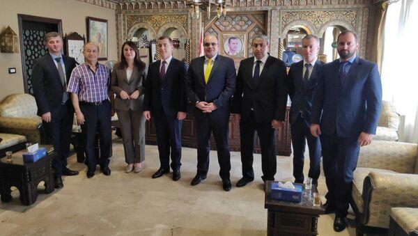 Встреча Министра экономики Республики Абхазия Адгура Ардзинба с Министром экономики и внешней торговли Сирийской Арабской Республики Мухаммедом Самер Халилем - Sputnik Абхазия