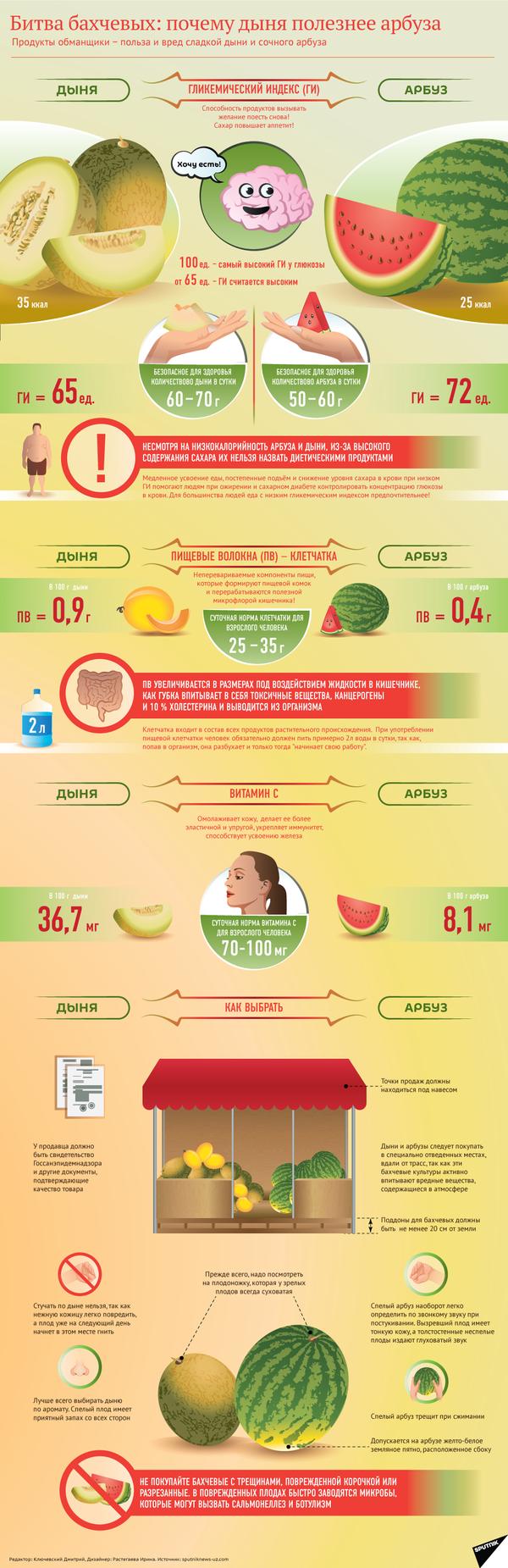 Дыня или арбуз: что полезней? - инфографика на sputnik.by - Sputnik Абхазия