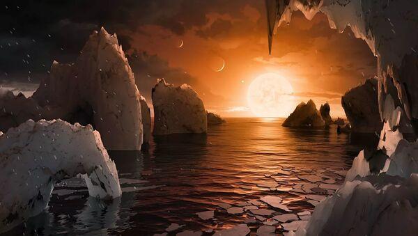 Так художник представил себе планету TRAPPIST-1f, ближайший кандидат на роль двойника Земли - Sputnik Абхазия