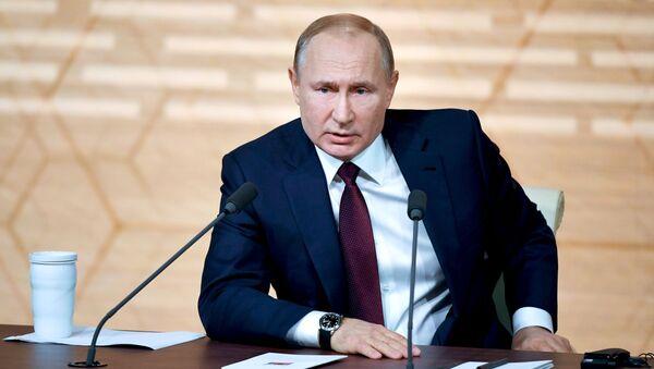 Президент России Владимир Путин на ежегодной большой пресс-конференции - Sputnik Абхазия