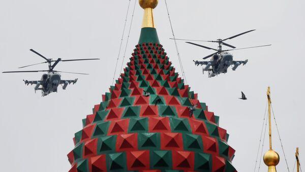 Ударные вертолеты Ка-52 Аллигатор на репетиции воздушной части парада Победы в Москве - Sputnik Абхазия