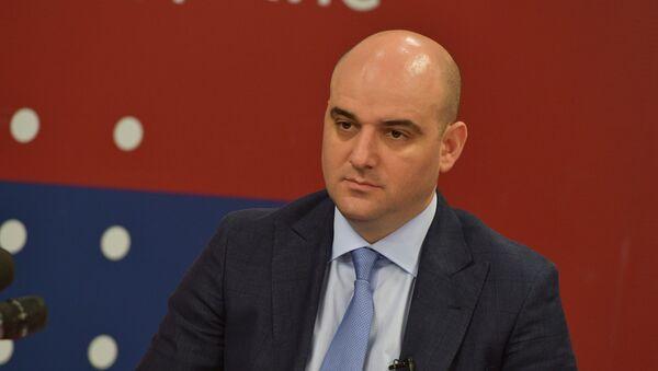 Дмитрий Дбар на  первой пресс-конференции в пресс-центре АГТРК  - Sputnik Абхазия